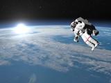 Astronaut or cosmonaut flying upon earth - 3D render - 69208012