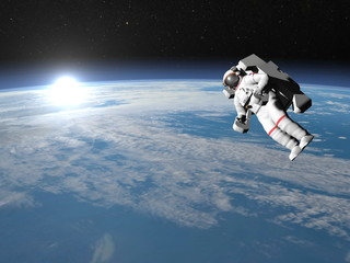 Astronaut or cosmonaut flying upon earth - 3D render