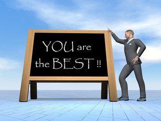Businessman saying you are the best - 3D render