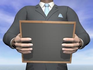 Businessman holding blackboard - 3D render