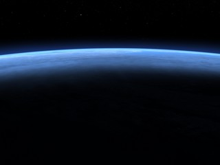 Planet earth horizon in space - 3D render