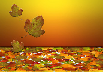 Hojas caídas, otoño, fondo