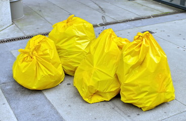 Garbage bags on the street