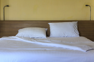Double comfortable bed in hotel