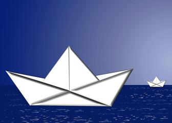 Barcos de papel, papiroflexia, ilustración, fondo
