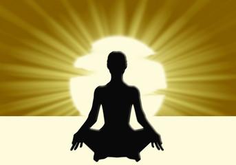 Yoga, postura del Loto, silueta, sol, fondo, meditación