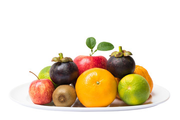 Group fruits on dish ware