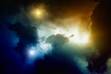 Bright colorful lights in dark sky