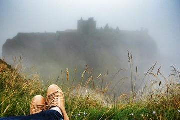 Resting opposite the castle
