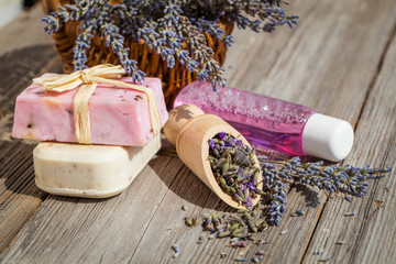 Natural handmade lavender oil and soap and fresh lavender flower