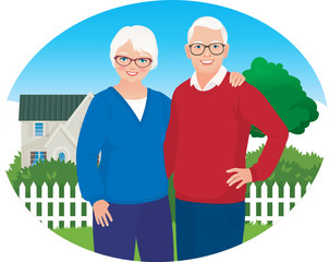 Elderly husband and wife are in their household