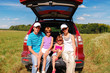 Family car trip on summer vacation, travel with kids