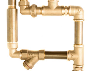Metal water pipes on a white background