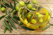 olive oil and olives - 69210811