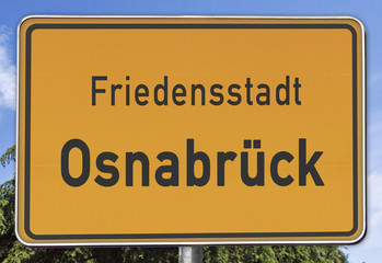 Osnabrück, Friedensstadt, Ortsschild
