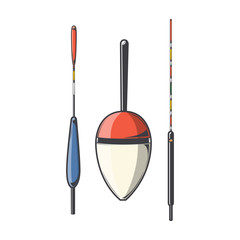 Set of fishing floats isolated on a white background.