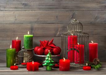 christmas decoration with burning candles. nostalgic home interi