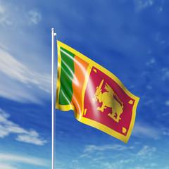 Waving  Lankan flag