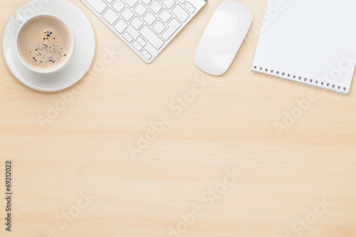 canvas print picture Office table with notepad, computer and coffee cup