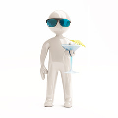 3d little man with cocktail