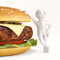 3 d little man with burger on white