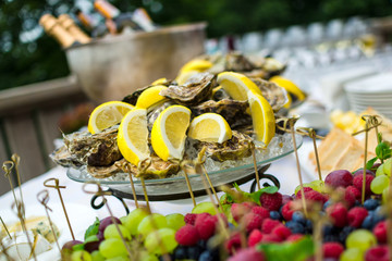 Oysters on ice at buffet table, catering