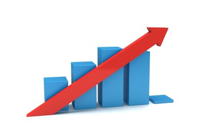 3d blue bar graph with red arrow. Grow, chart