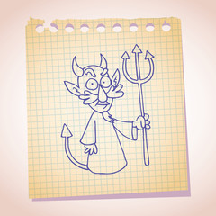 Devil character note paper sketch