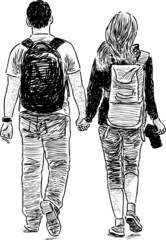 young couple walking