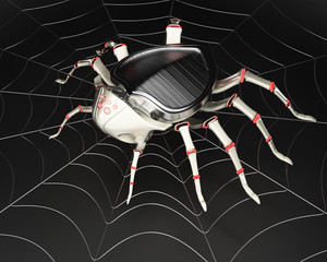 Cyber spider in the metal spiderweb
