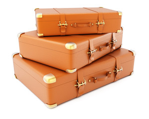 Heap of brown leather suitcases