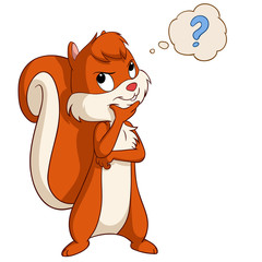 Cartoon squirrel thinking with question bubble
