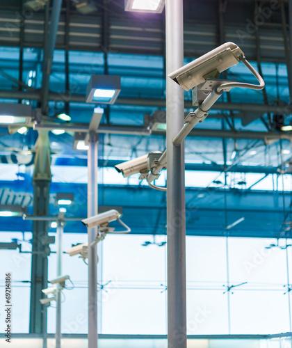 line of CCTV camera or surveillance operating - 69214886