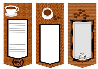 three coffee menu card