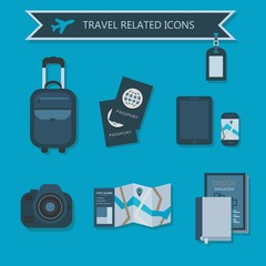 Some travel essentials and related icons