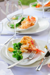 Prepared lobster on plate