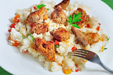 Risotto with meat