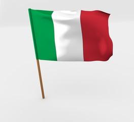 waving italy flag on the flag pole