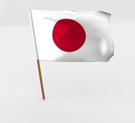 waving japan flag on the flag pole