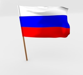 waving russia flag on the flag pole