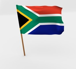 waving south africa flag on the flag pole