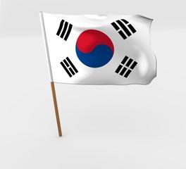 waving south korea flag on the flag pole