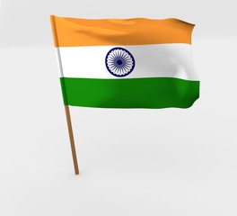 waving india flag on the flag pole