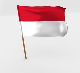 waving indonesia flag on the flag pole