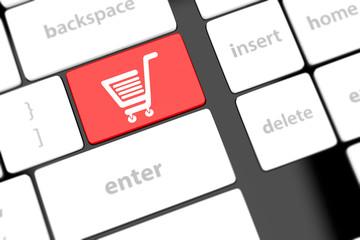 shopping enter button key on white keyboard