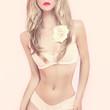 fashion portrait of sensual girl in romantic underwear