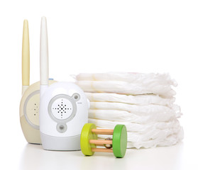 Child baby kid radio monitor device stack of diapers and baby to