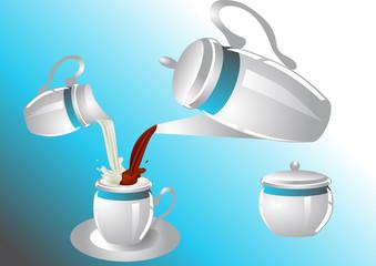 coffee service with poorin milk