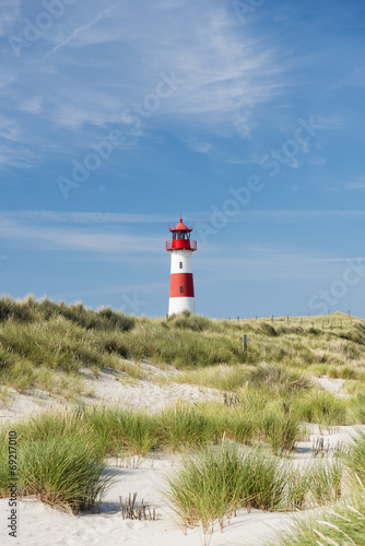 Leinwanddruck Bild Lighthouse on dune. Focus on background with lighthouse.