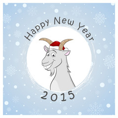 Happy new two thousand fifteenth year postcard with funny goat